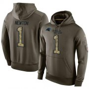 Wholesale Cheap NFL Men's Nike Carolina Panthers #1 Cam Newton Stitched Green Olive Salute To Service KO Performance Hoodie
