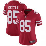 Wholesale Cheap Nike 49ers #85 George Kittle Red Team Color Women's Stitched NFL Vapor Untouchable Limited Jersey