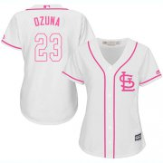 Wholesale Cheap Cardinals #23 Marcell Ozuna White/Pink Fashion Women's Stitched MLB Jersey