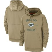 Wholesale Cheap Men's Green Bay Packers Nike Tan 2019 Salute to Service Sideline Therma Pullover Hoodie