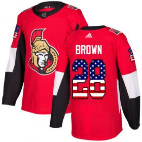 Wholesale Cheap Adidas Senators #28 Connor Brown Red Home Authentic USA Flag Stitched Youth NHL Jersey
