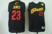 Wholesale Cheap Men's Cleveland Cavaliers #23 LeBron James 2015 The Finals 2014 Black With Red Fashion Jersey