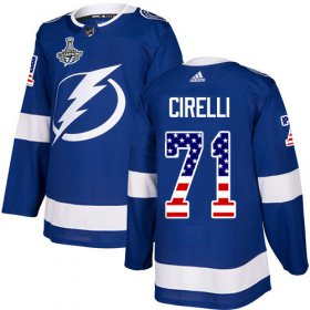 Cheap Adidas Lightning #71 Anthony Cirelli Blue Home Authentic USA Flag 2020 Stanley Cup Champions Stitched NHL Jersey