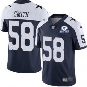 Wholesale Cheap Nike Cowboys #58 Aldon Smith Navy Blue Thanksgiving Men's Stitched With Established In 1960 Patch NFL Vapor Untouchable Limited Throwback Jersey