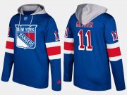 Wholesale Cheap Rangers #11 Mark Messier Blue Name And Number Hoodie