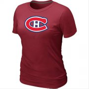 Wholesale Cheap Women's Montreal Canadiens Big & Tall Logo Red NHL T-Shirt