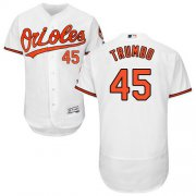Wholesale Cheap Orioles #45 Mark Trumbo White Flexbase Authentic Collection Stitched MLB Jersey
