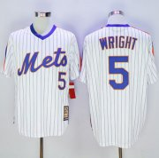 Wholesale Cheap Mitchell And Ness Mets #5 David Wright White(Blue Strip) Throwback Stitched MLB Jersey