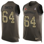 Wholesale Cheap Nike Cardinals #64 J.R. Sweezy Green Men's Stitched NFL Limited Salute To Service Tank Top Jersey