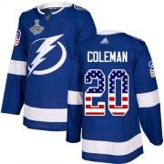 Cheap Adidas Lightning #20 Blake Coleman Blue Home Authentic USA Flag 2020 Stanley Cup Champions Stitched NHL Jersey