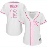 Wholesale Cheap Royals #12 Jorge Soler White/Pink Fashion Women's Stitched MLB Jersey