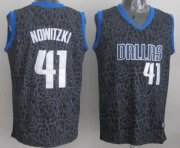 Wholesale Cheap Dallas Mavericks #41 Dirk Nowitzki Black Leopard Print Fashion Jersey