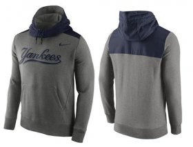 Wholesale Cheap Men\'s New York Yankees Nike Gray Cooperstown Collection Hybrid Pullover Hoodie