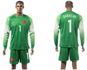 Wholesale Cheap Turkey #1 Babacan Green Goalkeeper Long Sleeves Soccer Country Jersey
