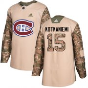 Wholesale Cheap Adidas Canadiens #15 Jesperi Kotkaniemi Camo Authentic 2017 Veterans Day Stitched Youth NHL Jersey