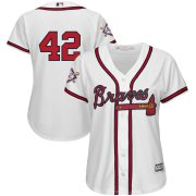 Wholesale Cheap Atlanta Braves #42 Majestic Women's 2019 Jackie Robinson Day Official Cool Base Jersey White