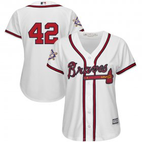 Wholesale Cheap Atlanta Braves #42 Majestic Women\'s 2019 Jackie Robinson Day Official Cool Base Jersey White