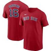 Wholesale Cheap Boston Red Sox #16 Andrew Benintendi Nike Name & Number T-Shirt Red