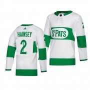 Wholesale Cheap Maple Leafs #2 Ron Hainsey adidas White 2019 St. Patrick's Day Authentic Player Stitched NHL Jersey