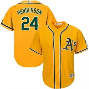 Wholesale Cheap Athletics #24 Rickey Henderson Gold Cool Base Stitched Youth MLB Jersey