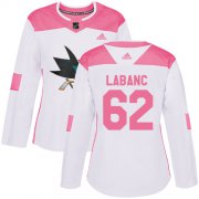 Wholesale Cheap Adidas Sharks #62 Kevin Labanc White/Pink Authentic Fashion Women's Stitched NHL Jersey