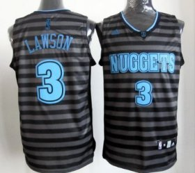 Wholesale Cheap Denver Nuggets #3 Ty Lawson Gray With Black Pinstripe Jersey