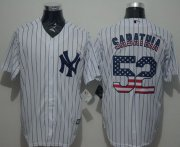 Wholesale Cheap Yankees #52 C.C. Sabathia White Strip USA Flag Fashion Stitched MLB Jersey