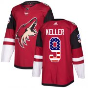 Wholesale Cheap Adidas Coyotes #9 Clayton Keller Maroon Home Authentic USA Flag Stitched Youth NHL Jersey