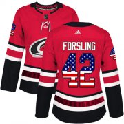 Wholesale Cheap Adidas Hurricanes #42 Gustav Forsling Red Home Authentic USA Flag Women's Stitched NHL Jersey