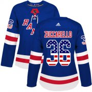 Wholesale Cheap Adidas Rangers #36 Mats Zuccarello Royal Blue Home Authentic USA Flag Women's Stitched NHL Jersey