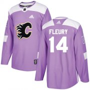 Wholesale Cheap Adidas Flames #14 Theoren Fleury Purple Authentic Fights Cancer Stitched Youth NHL Jersey
