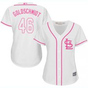Wholesale Cheap Cardinals #46 Paul Goldschmidt White/Pink Fashion Women's Stitched MLB Jersey