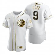 Wholesale Cheap Chicago Cubs #9 Javier Baez White Nike Men's Authentic Golden Edition MLB Jersey