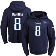 Wholesale Cheap Nike Titans #8 Marcus Mariota Navy Blue Name & Number Pullover NFL Hoodie