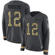 Wholesale Cheap Nike Packers #12 Aaron Rodgers Anthracite Salute to Service Women's Stitched NFL Limited Therma Long Sleeve Jersey