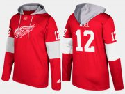 Wholesale Cheap Red Wings #12 Sid Abel Red Name And Number Hoodie