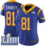 Wholesale Cheap Nike Rams #81 Gerald Everett Royal Blue Alternate Super Bowl LIII Bound Women's Stitched NFL Vapor Untouchable Limited Jersey