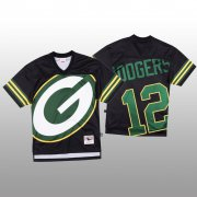 Wholesale Cheap NFL Green Bay Packers #12 Aaron Rodgers Black Men's Mitchell & Nell Big Face Fashion Limited NFL Jersey