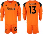 Wholesale Cheap Liverpool #13 Alisson Orange Goalkeeper Long Sleeves Soccer Club Jersey