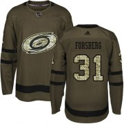 Wholesale Cheap Adidas Hurricanes #31 Anton Forsberg Green Salute to Service Stitched Youth NHL Jersey