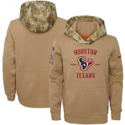 Wholesale Cheap Youth Houston Texans Nike Khaki 2019 Salute to Service Therma Pullover Hoodie
