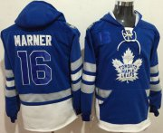 Wholesale Cheap Maple Leafs #16 Mitchell Marner Blue Name & Number Pullover NHL Hoodie