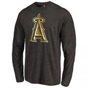 Wholesale Cheap Los Angeles Angels of Anaheim Gold Collection Long Sleeve Tri-Blend T-Shirt Black