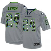 Wholesale Cheap Nike Seahawks #24 Marshawn Lynch New Lights Out Grey Men's Stitched NFL Elite Jersey