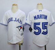 Wholesale Cheap Blue Jays #55 Russell Martin White Cool Base Stitched Youth MLB Jersey