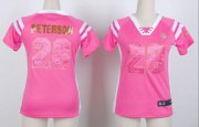 Wholesale Cheap Nike Vikings #28 Adrian Peterson Pink Women's Stitched NFL Elite Draft Him Shimmer Jersey