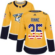 Wholesale Cheap Adidas Predators #35 Pekka Rinne Yellow Home Authentic USA Flag Women's Stitched NHL Jersey
