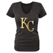 Wholesale Cheap Women's Kansas City Royals Gold Collection Tri-Blend V-Neck T-Shirt Black