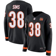 Wholesale Cheap Nike Bengals #38 LeShaun Sims Black Team Color Women's Stitched NFL Limited Therma Long Sleeve Jersey