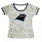 Wholesale Cheap Women's Carolina Panthers Sideline Legend Authentic Logo Zebra Stripes T-Shirt
